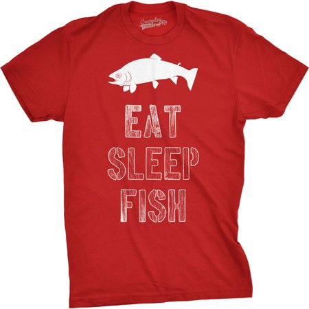 Mens Eat Sleep Fish T Shirt - Funny Vintage Fishing Outdoors Tee (Betta Fish T Shirt)