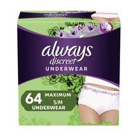 Always Discreet, Incontinence Underwear for Women, Maximum, Small / Medium, 64 Count