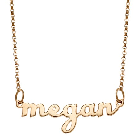 Personalized Women's Silvertone or Goldtone Script Lowercase Name Necklace, 18