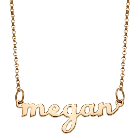 - Personalized Women's Silvertone or Goldtone Script Lowercase Nameplate Necklace, 18