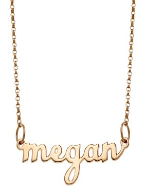Personalized Women's Silvertone or Goldtone Script Lowercase Name Necklace, 18""