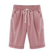 ca4cbaf3c2 Plus Size Women High Waist Summer Beach Hot Shorts Casual Stretch  Elasticated Waisted Pockets Plain Bottom