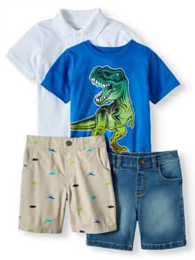 Toddler Boys' Pique Polo, Graphic T-Shirt, Print Shorts and Solid Shorts, 4-Piece Outfit Set