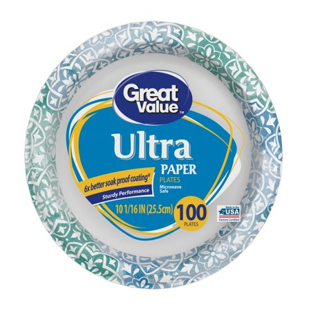 Great Value Ultra Paper Dinner Plates, 10 1/16