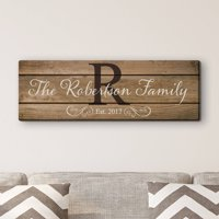 "Family Name and Initial 6"" x 18"" or 9"" x 27"" Personalized Canvas"