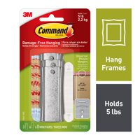 Command Sticky Nail Sawtooth Hanger, White, 3 Hangers, 6 Large Strips, 6 Sets of Mini Strips/Pack