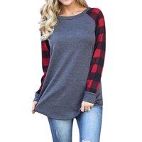 Starvnc Women Stylish Long Sleeve Plaid Print Splice Design Shirt