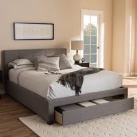 Baxton Studio Brandy Modern and Contemporary Grey Fabric Upholstered Platform Bed with Storage Drawer, Multiple Sizes