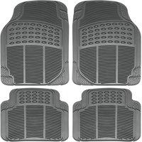 OxGord 4-Piece Full Set Ridged Heavy Duty Rubber Floor Mats, Universal Fit Mat for Car, SUV, Van & Trucks, Front & Rear, Driver & Passenger Seat, Gray