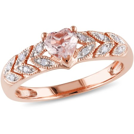 Rosette Rose Ring (1/2 Carat T.G.W. Morganite and Diamond-Accent 10kt Rose Gold Ring)