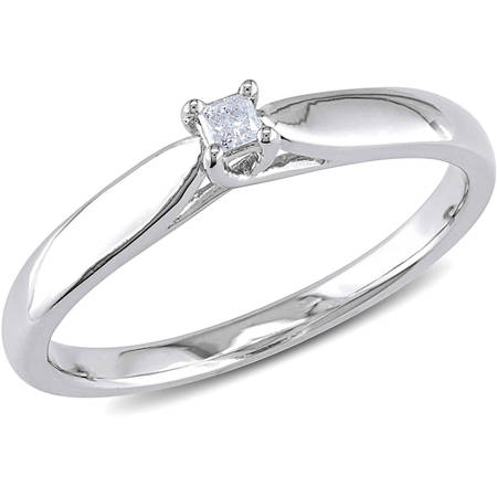 Vx11000 Diamond (Princess-Cut Diamond Accent Sterling Silver Solitaire Promise Ring)