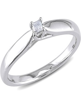 Princess-Cut Diamond Accent Sterling Silver Solitaire Promise Ring