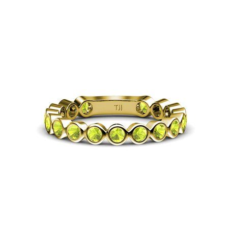 Peridot 2.3mm Bezel Set Eternity Band 0.89 Carat tw in 14K Yellow Gold.size 7.0