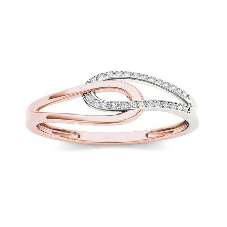 1/10Ct TDW Diamond 10K Rose Gold Interlocking Loops Fashion Ring
