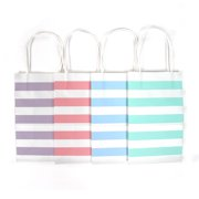 12CT Small Pastel Stripe Biodegradable Food Safe Ink Paper Kraft Bag With White Sturdy
