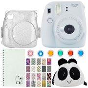 49dd23d3ee622f Fuijfilm Instax Mini 9 Instant Film Camera White + Trendy Panda Bag – Camera  Accessories + Scrapbook Album + Glitter Silver Camera Case + BFF Designed  Photo ...