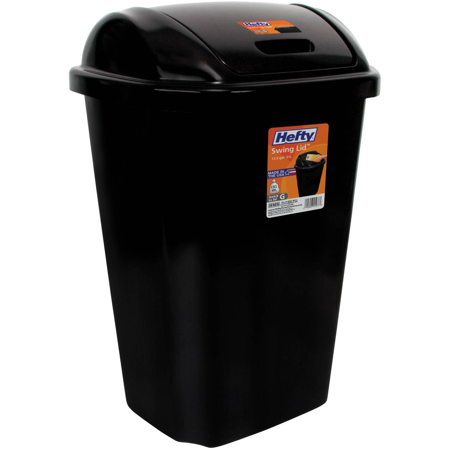 Hefty Swing-Lid 13.5 Gal Trash Can Black  sc 1 st  Walmart & Garbage Cans for Outdoors