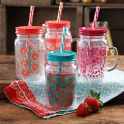 The Pioneer Woman Simple Homemade Goodness Decorated 16-Ounce Double-Wall Mason Jar with Lid and Handle, Set of 4