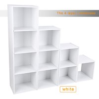 Knifun 3/4 Shelf Bookcase Storage Bookshelf Wood Furniture Adjustable Book Shelving