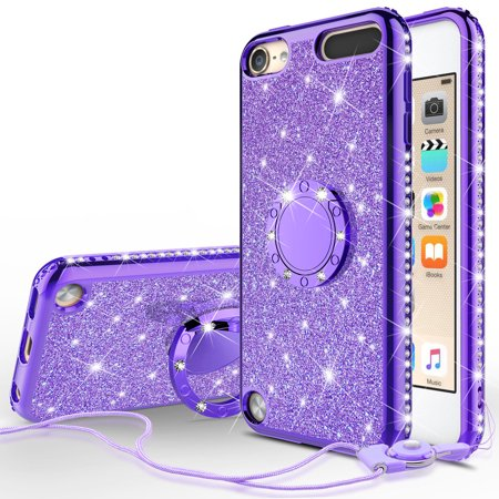 Apple iPod Touch 6 Case, iPod 6/5 Case [Tempered Glass Screen Protector],Glitter Ring Stand Bling Sparkle Diamond Case For Apple iPod Touch 5/6th Generation - Purple - image 5 of 5