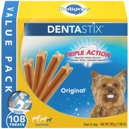 Pedigree Dentastix Toy/Small Dental Dog Treats, Original, 1.68 Lbs. Value Pack (108 Treats)