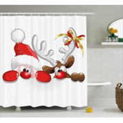 Christmas Shower Curtain Funny Santa Claus And Reindeer Peeking Cartoon Style Humor Fabric