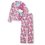 a4e65de2f1 Hello Kitty Girls Pink Print Flannel Pajama Set PJs Sleepwear