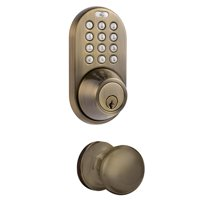 Keyless Entry Deadbolt and Door Knob Lock Combo Pack with Electronic Digital KeypaD Antique Brass