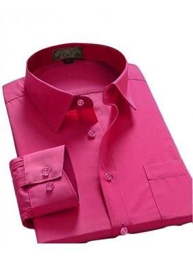 Men Dress Shirt Regular Fit Oxford Solid Color