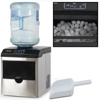 Della Freestanding 2in1 Water Dispenser w/ Built-In Ice Maker Machine Countertop up to 40lbs, Stainless Steel