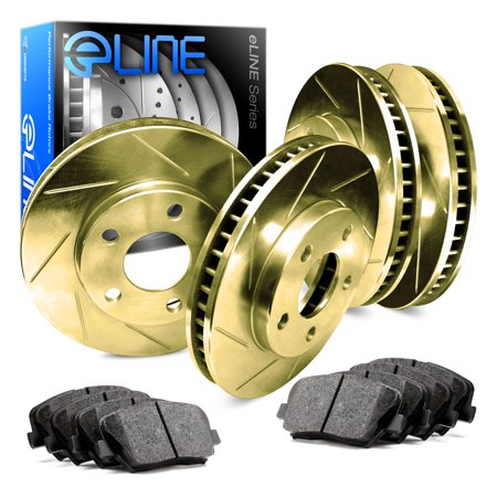 Vip Full Kit (1991 1992 Lincoln Mark VII Full Kit Gold Slotted Brake Disc Rotors & Ceramic Pad )