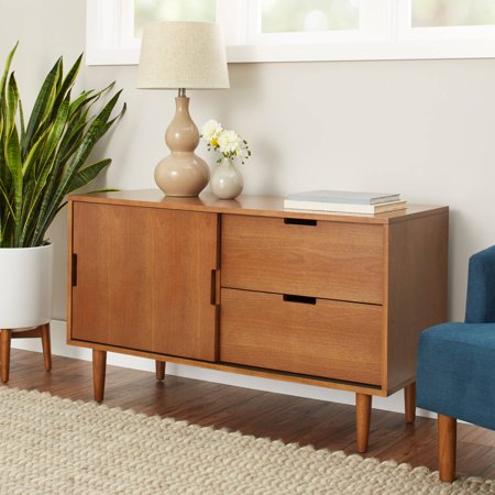 Better Homes and Gardens Flynn Mid Century Modern Credenza, Pecan - Mid Century Pottery