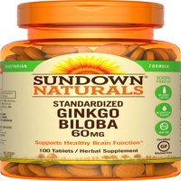Sundown Naturals Ginkgo Biloba Herbal Supplement Tablets, 60mg, 100 count