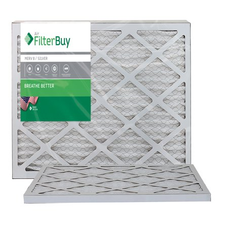 AFB Silver MERV 8 12x24x1 Pleated AC Furnace Air Filter. Pack of 2 Filters. 100% produced in the
