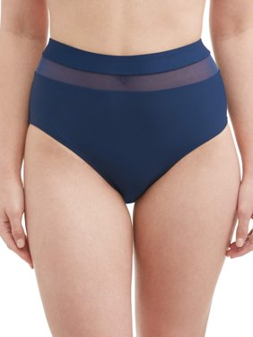 Women's Mesh Insert High Waist Swimsuit Bottom