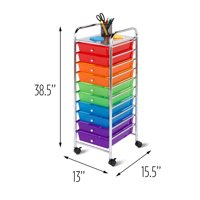 Honey Can Do Storage Cart with 10 Drawers and Rollers, Multicolor