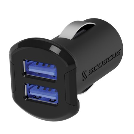 SCOSCHE ReVolt Compact Dual Port USB Fast Car Charger with Illuminated LED Backlight - 12 Watts/2.4 Amps Per Port (24W/4.8A Total