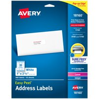 "Avery Easy Peel Address Labels, Sure Feed Technology, Permanent Adhesive, 1"" x 2-5/8"", 300 Labels (18160)"