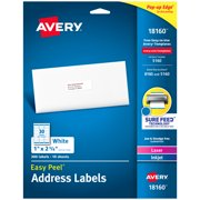 """Avery Easy Peel Address Labels, Sure Feed Technology, Permanent Adhesive, 1"""" x 2-5/8"""", 300 Labels (18160)"""