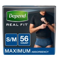 Depend Real Fit Incontinence Briefs for Men, Maximum Absorbency, S/M, Blue, 56 count