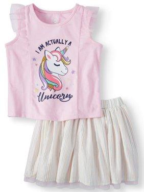 Toddler Girls' Tank Top and Reversible Tutu, 2-Piece Outfit Set