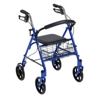 Drive Medical Four Wheel Rollator Rolling Walker with Fold Up Removable Back Support, Blue