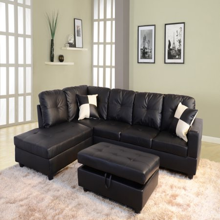 Leather Sectional Sofa Couch (Raphael Faux Leather Left Facing Sectional Sofa With Ottoman, Multiple Colors )
