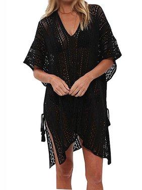 Women Hollow Out Beach Swimsuit Cover ups Tassel V Neck Loose Knitted Bikini Bathing Suit Summer Swimwear Crochet Dress