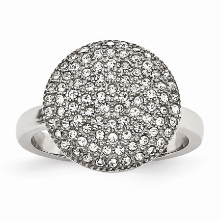 - Chisel Stainless Steel Women's Polished with Preciosa Crystal Heart Ring, Size 8