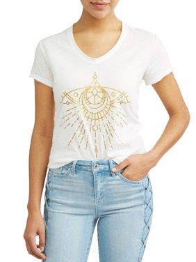 Gold Evil Eye Short Sleeve V-Neck Graphic T-Shirt Women's