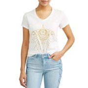 27b227f7 Sofia Vergara Gold Evil Eye Short Sleeve V-Neck Graphic T-Shirt Women's