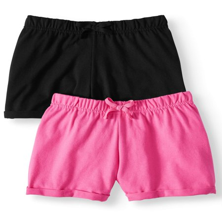 Wonder Nation Casual Knit Shorts, 2-pack (Little Girls & Big (Mlb Kids Shorts)