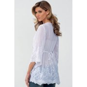 Women Loose Top Lace Shirt and Blouse White