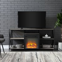 "Manor Park 60"" Rustic Urban Industrial X-Frame Open Shelf Fireplace - Grey Wash"